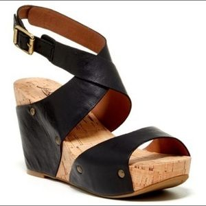 Lucky Brand 'Moran' Cork Wedge Leather Sandals